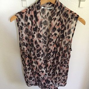 Pink leopard sheer wrap sleeveless top